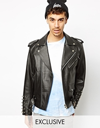 Reclaimed Vintage Leather Jacket With Studded Arms Black