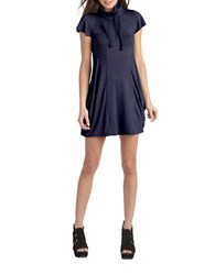 Kensie Quarter Zip Flutter Sleeved Dress Heather Navy