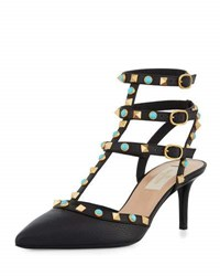 Valentino Rockstud Cabochon Leather Caged Pump Black