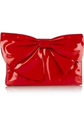 Valentino Bow Embellished Patent Leather Clutch Red