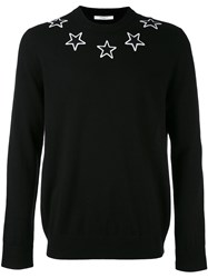 Givenchy Star Embroidered Sweater Men Polyester Wool Xl Black