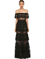 Zuhair Murad Tulle And Lace Off The Shoulder Dress Black
