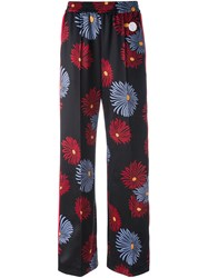 Msgm Daisy Print Wide Leg Pants Black