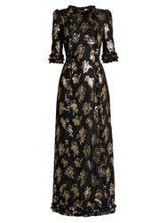 The Vampire's Wife Cate Floral Fil Coupe Gown Black Gold