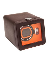Wolf Windsor Single Watch Winder With Cover Brown