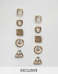 Monki Gold Shape Multi Pack Earrings Gold