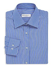 Yves Saint Laurent Contrast Pinstripe Dress Shirt Light Blue