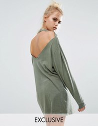Milk It Vintage Oversized Distressed T Shirt With Open Back In Long Sleeve Khaki Green