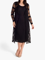 Chesca Sheer And Stripe Crush Pleated Dress Black