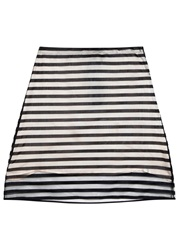 Clu Off White And Black Striped Mesh Skirt