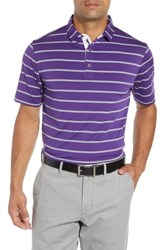 Bobby Jones Ferry Stripe Classic Fit Golf Polo Purple