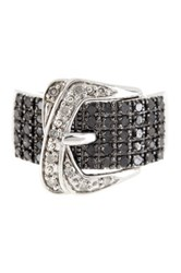 Savvy Cie Pave Black And White Diamond Buckle Ring 0.75 Ctw Multi