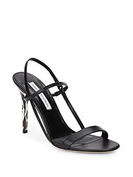 Diane Von Furstenberg Ulla Zebra Print Heel Leather Sandals Black