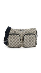 Wgaca Gucci Canvas Messenger Bag Previously Owned Navy