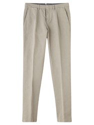 Jigsaw Cotton Linen One Pleat Trousers Pumice
