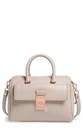Ted Baker London 'Luggage Lock' Leather Satchel Grey Light Grey