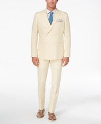 Tallia Orange Men's Modern Fit Light Yellow Delave Double Breasted Suit