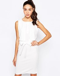 Daisy Street Midi Dress With Tie Waist And Overlay Top White