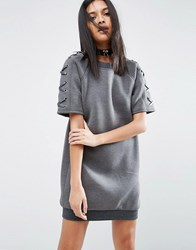 Story Of Lola Neoprene Dress With Lace Up Sleeve Charcoal Grey