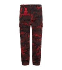 Valentino Camouflage Cargo Trousers Red