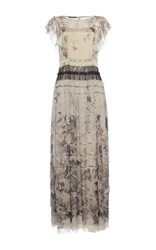 Alberta Ferretti Grey Printed Chiffon Tiered Dress Floral