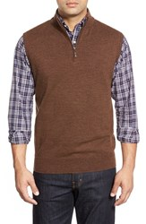 Men's Peter Millar Quarter Zip Merino Wool Vest Cocoa