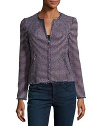 Rebecca Taylor Graphic Tweed Zip Front Jacket Navy