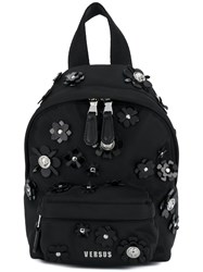 Versus Flower Embellished Mini Backpack Black