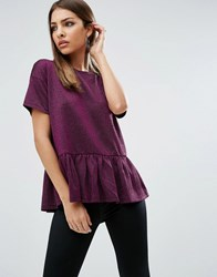 Asos T Shirt In Sparkle Fabric With Ruffle Hem Pink