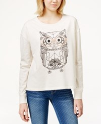 Rampage Juniors' Graphic Sweatshirt Oatmeal Heather