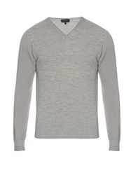 Lanvin V Neck Long Sleeved Wool Sweater Light Grey