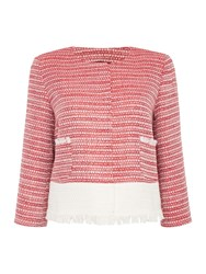 Max Mara Funghi Collarless Boucle Bolero Jacket Red