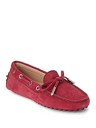 Tod's Italian Leather Boat Shoes Dark Red