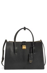 Miu Miu 'Medium Madras' Goatskin Leather Satchel Black Nero