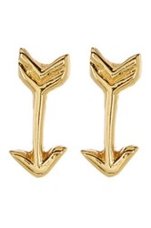 Argentovivo 18K Gold Plated Sterling Silver Arrow Stud Earrings Metallic