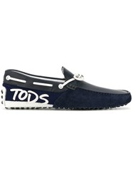 Tod's Gommino Loafers Leather Neoprene Rubber Blue