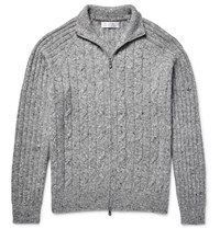 Brunello Cucinelli Zip Up Melange Cable Knit Cardigan Gray