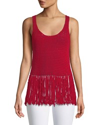 Bailey 44 Sage Brush Sleeveless Fringe Sweater Red