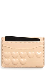 Women's Marc Jacobs Embossed Heart Leather Card Case Pink Seashell Peach
