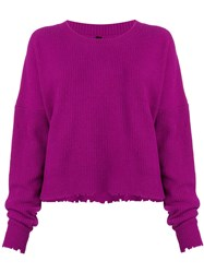 Unravel Project Frayed Knit Sweater Pink And Purple