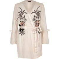 River Island Pink Floral Embroidered Frill Sleeve Robe