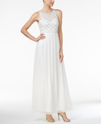 Adrianna Papell Beaded A Line Gown White