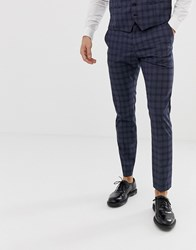 Selected Homme Slim Suit Trouser In Navy Check