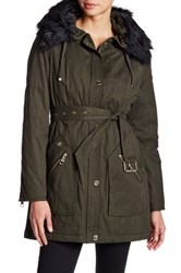 Guess Faux Fur Trim Belted Parka Green