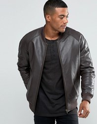 Asos Leather Bomber Jacket In Brown Brown