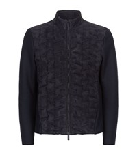 Armani Collezioni Suede Quilted Jersey Male Navy