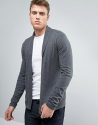 Asos Open Shawl Cardigan In Grey Cotton Misfit Charcoal
