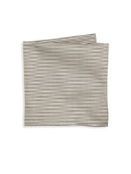 Armani Collezioni Thin Striped Silk Pocket Square White