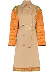 Versace Quilted Sleeve Baroque Trench Coat 60
