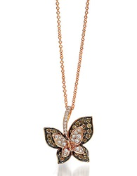 Levian 14K Rose Gold Brown And White Diamond Butterfly Pendant Necklace